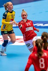 Mia Rej Bidstrup of Denmark in action during the Women's EHF Euro 2020 match between Denmark and Sweden at Jyske Bank BOXEN on december 11, 2020 in Kolding, Denmark (Photo by RHF Agency/Ronald Hoogendoorn)