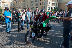 Chopper Dave Monson riding his 1914 Harley-Davidson on the Atlantic City boardwalk at the start of the Motorcycle Cannonball Race of the Century. Stage-1 from Atlantic City, NJ to York, PA. USA. Saturday September 10, 2016. Photography ©2016 Michael Lichter.
