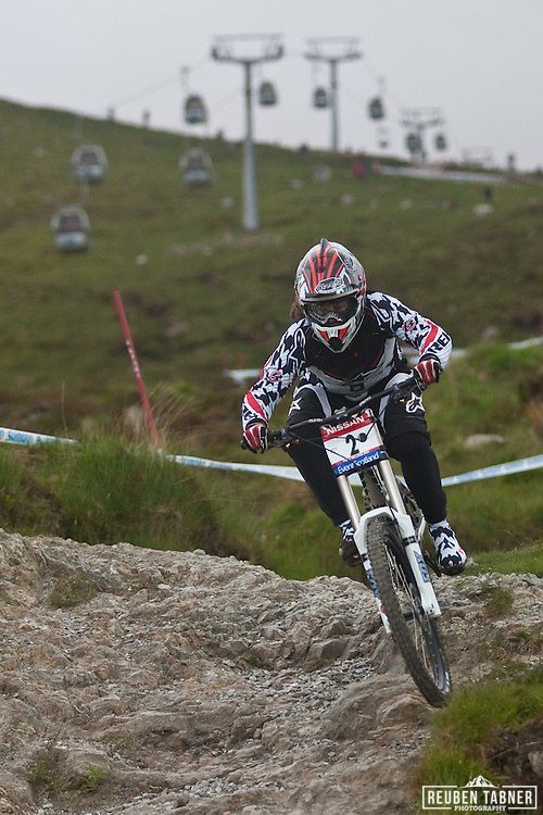 Tracy Moseley qualifying in the top 5 for the womens Downhill World Cup Final.