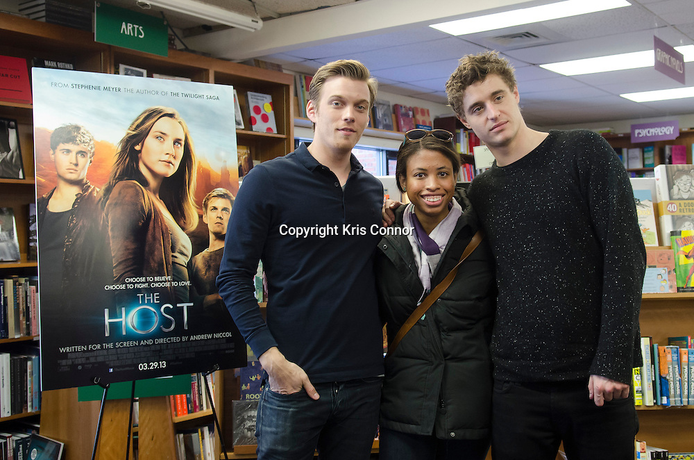 """Actors Jake Abel and Max Irons attend a booking signing for their upcoming movie """"The Host"""" at Politics and Pros Bookstore in Washington DC on February 21, 2013. Photo by Kris Connor/Allied-THA"""