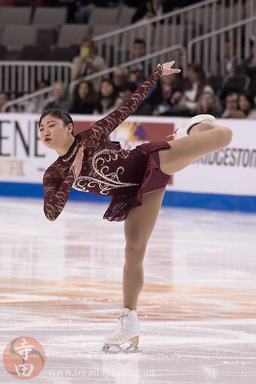 January 3, 2018; San Jose, CA, USA; Mirai Nagasu performs in the ladies short program during the 2018 U.S. Figure Skating Championships at SAP Center.