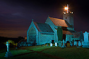 Beacon lit on church tower of St Mary's Church to celebrate Queen's Diamond Jubilee in Swinbrook village in The Cotswolds, UK