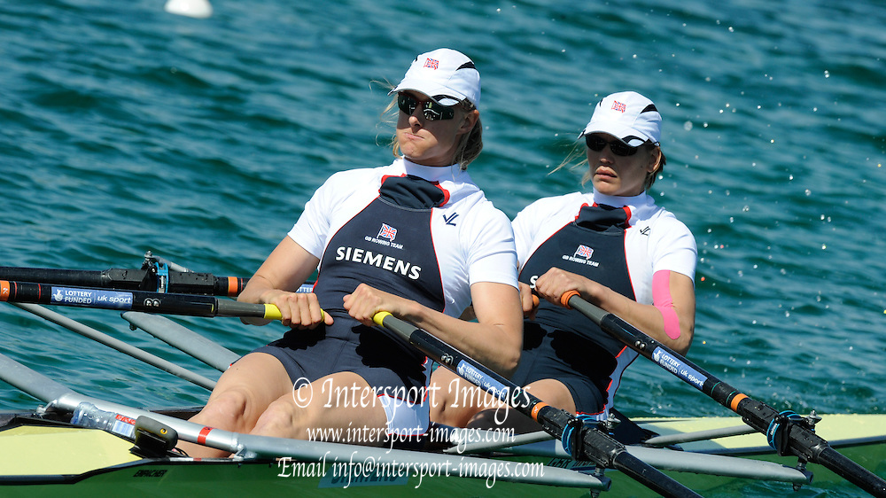Munich, GERMANY, GBR W2X, Bow Elise LAVERICK and Sarah WINCKLESS, during the FISA World Cup at the Munich Olympic Rowing Course, Thur's.  08.05.2008  [Mandatory Credit Peter Spurrier/ Intersport Images] Rowing Course, Olympic Regatta Rowing Course, Munich, GERMANY