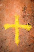 A painted cross outside Wukro Cherkos church, a cruciform rock hewn church near the town of Wukro. Ethiopia, Horn of Africa