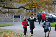 Wales head coach Warren Gatland and assistant coach Rob Howley (l) arrive for the Wales rugby team training session at the Vale Resort Hotel in Hensol, near Cardiff , South Wales on Thursday  16th November 2017.  the team are preparing for their Autumn International series match against Georgia this weekend.   pic by Andrew Orchard