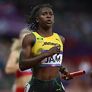 Kerron Stewart, Jamaica, in action during the Women's 4 X 100m Heats at the Olympic Stadium, Olympic Park, during the London 2012 Olympic games. London, UK. 9th August 2012. Photo Tim Clayton