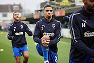 AFC Wimbledon defender Tennai Watson (2) warming up before the EFL Sky Bet League 1 match between AFC Wimbledon and Plymouth Argyle at the Cherry Red Records Stadium, Kingston, England on 26 December 2018.