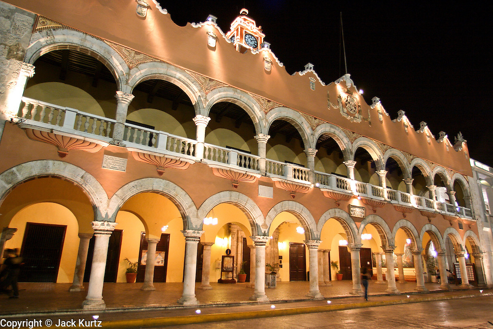 MERIDA, YUCATAN, MEXICO: The city hall building in the historic section of Merida, capitol of the state of the Yucatan in southern Mexico. Merida is popular with Mexican and foreign tourists alike who visit the city to see the colonial architecture and explore the Mayan Indian communities in the area.  01 AUGUST 2003 PHOTO BY JACK KURTZ