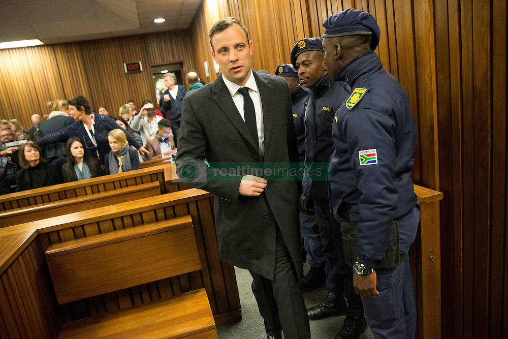 Paralympian athlete Oscar Pistorius, accused of the murder of his girlfriend Reeva Steenkamp three years ago, arrives at the High Court in Pretoria, on July 6, 2016 for a hearing in his murder trail..Paralympian Oscar Pistorius will learn on July 6 how long he will spend in jail when a judge sentences him for murdering his girlfriend Reeva Steenkamp three years ago. Pistorius was freed from prison in the South African capital Pretoria last October after serving one year of a five-year term for culpable homicide -- the equivalent of manslaughter.. / AFP PHOTO / POOL / MARCO LONGARI (Credit Image: © Marco Longari/Xinhua via ZUMA Wire)