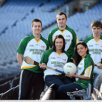 28 November 2012; In attendance at the launch of the GAA Annual Games Development Conference are, from left, Cillian O'Connor, Mayo Football, Ursula Jacob, Wexford Camogie, Niall Arthur, Clare Hurling, Sinead Goldrick, Dublin Ladies Football and Martin Mulkerrins, Galway Handball. Croke Park, Dublin. Picture credit: Matt Browne / SPORTSFILE