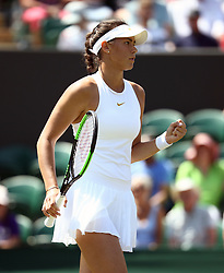 Natalia Vikhlyantseva reacts on day two of the Wimbledon Championships at the All England Lawn Tennis and Croquet Club, Wimbledon.