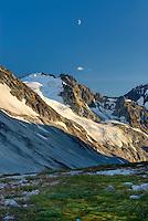 Half Moon above Peaks of Boulder/Salal Divide, Coast Range British Columbia Canada