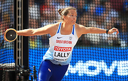 Great Britain's Jade Lally competes in the Women's Discus Throw Qualifying during day eight of the 2017 IAAF World Championships at the London Stadium.