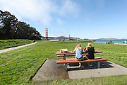 Presidio and Crissy Fields in the Golden Gate National recreation area in San Francisco California America