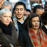 LONDON - JANUARY 03: President of the Stop The War Coalition, Tony Benn  Respect MP, George Galloway, singer Annie Lennox and Biannca Jagger attend a demonstration against Israel's military offensive against Hamas, on the Embankment, January 3, 2009 in London, England. Israel has so far carried out over 700 air strikes in Gaza within the last week and over 400 Palestinians are reported to have been killed....Please telephone : +44 (0)845 0506211 for usage fees .***Licence Fee's Apply To All Image Use***.IMMEDIATE CONFIRMATION OF USAGE REQUIRED.*Unbylined uses will incur an additional discretionary fee!*.XianPix Pictures  Agency  tel +44 (0) 845 050 6211 e-mail sales@xianpix.com www.xianpix.com