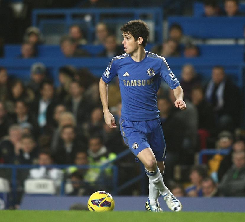 Chelsea's Oscar in action during todays match  ..Football - Barclays Premiership - Chelsea v Aston Villa - Sunday 23rd December 2012 - Stamford Bridge - London..