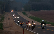 Motorcycle riders traveling down US Highway 77 in central Oklahoma