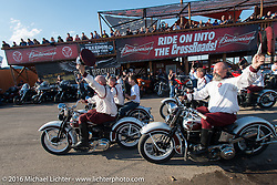 The Seattle Cossacks drill team performing at the Crossroads area of the Buffalo Chip during the annual Sturgis Black Hills Motorcycle Rally. SD, USA. Thursday, August 11, 2016. Photography ©2016 Michael Lichter.