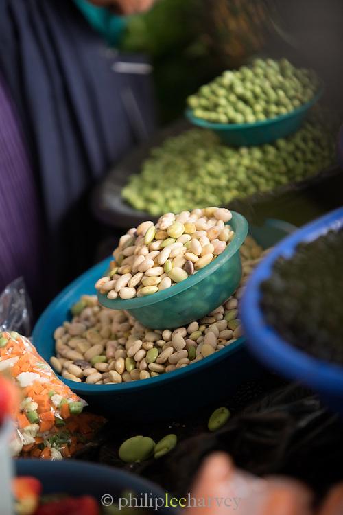 Beans for sale, Otavalo food Market. , Ecuador, South America