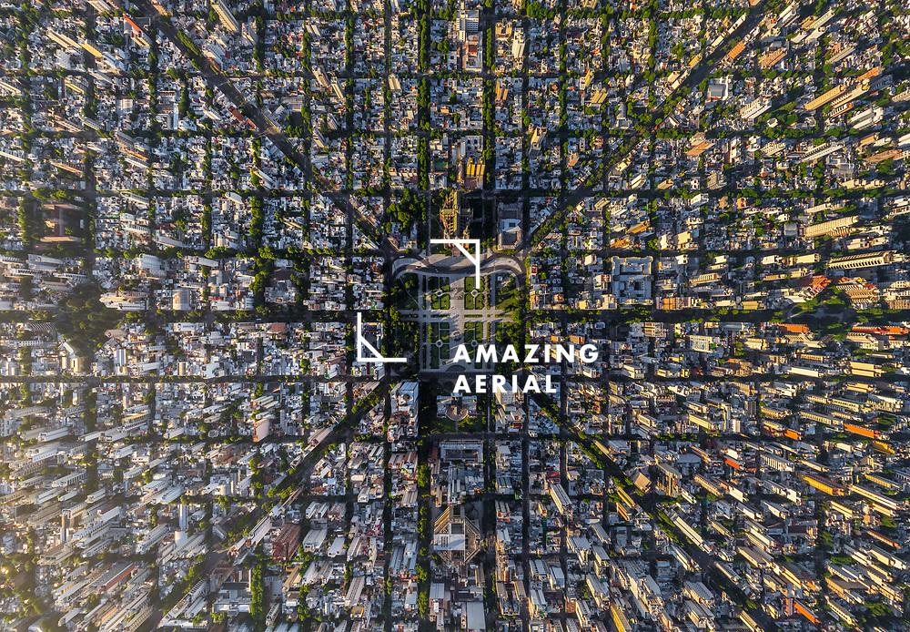 Aerial view above La Plata, Buenos Aires, Argentina
