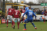 AFC Wimbledon striker Lyle Taylor (33) battles for possession in the box during the EFL Sky Bet League 1 match between AFC Wimbledon and Northampton Town at the Cherry Red Records Stadium, Kingston, England on 10 February 2018. Picture by Matthew Redman.