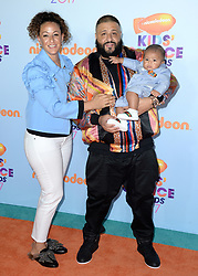 DJ Khaled, Nicole Tuck, Asahd Tuck Khaled attend the Nickelodeon's 2017 Kids' Choice Awards at USC Galen Center on March 11, 2017 in Los Angeles, California. Photo by Lionel Hahn/ABACAUSA.COM