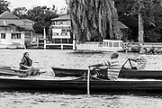 Walton, Great Britain,  Men's Singles,  at the start, moving away from the Stake Boats, Walton Reach Regatta, Walton on Thames, Skiff and Punting Regatta.  <br /> <br /> Saturday  19/08/2017<br /> <br /> [Mandatory Credit. Peter Spurrier/Intersport Images] River Thames .......... Summer, Sport, Dark, Stormy, Skies, Skilful, ..... Black and White. Conversion from Digital.