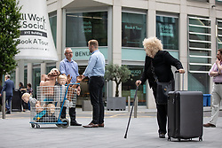 © Licensed to London News Pictures. 10/07/2019. Manchester, UK. Medial training mannekins and rubber body parts are transported through Manchester City Centre , between the old and the new facilities. General Medical Council (GMC) staff prepare for the opening of the regulator's new test facility in central Manchester. The £2.5m clinical assessment centre in the city's Spinningfields district will assess the skills of overseas-trained doctors who want to work in the UK. Once it opens in early August, more than 1,000 doctors per month will undergo a series of practical tests to show they have the skills required for a licence to practise medicine in the UK. It will replace the GMC's existing test centre, which has a more limited capacity. Photo credit: Joel Goodman/LNP