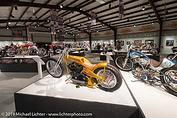 "Dan Rognsvoog Sportster digger in the ""Built for Speed"" exhibition curated by Michael Lichter and Paul D'Orleans in the Russ Brown Events Center as part of the annual ""Motorcycles as Art"" series at the Sturgis Buffalo Chip during the Black Hills Motorcycle Rally. SD, USA. August 5, 2014.  Photography ©2014 Michael Lichter."