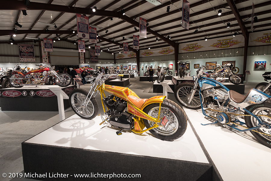 """Dan Rognsvoog Sportster digger in the """"Built for Speed"""" exhibition curated by Michael Lichter and Paul D'Orleans in the Russ Brown Events Center as part of the annual """"Motorcycles as Art"""" series at the Sturgis Buffalo Chip during the Black Hills Motorcycle Rally. SD, USA. August 5, 2014.  Photography ©2014 Michael Lichter."""