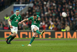 Ireland's Johnny Sexton misses a penalty during the NatWest 6 Nations match at Twickenham Stadium, London.