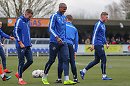 Millwall attacker Tom Elliott (19) warming up during the The FA Cup 5th round match between AFC Wimbledon and Millwall at the Cherry Red Records Stadium, Kingston, England on 16 February 2019.