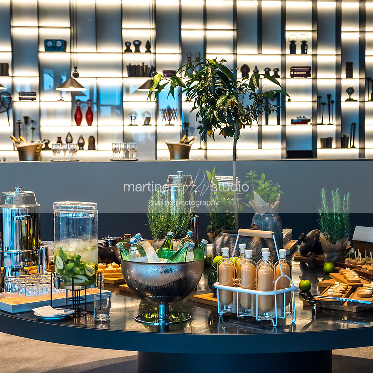 buffet table with an illuminated background