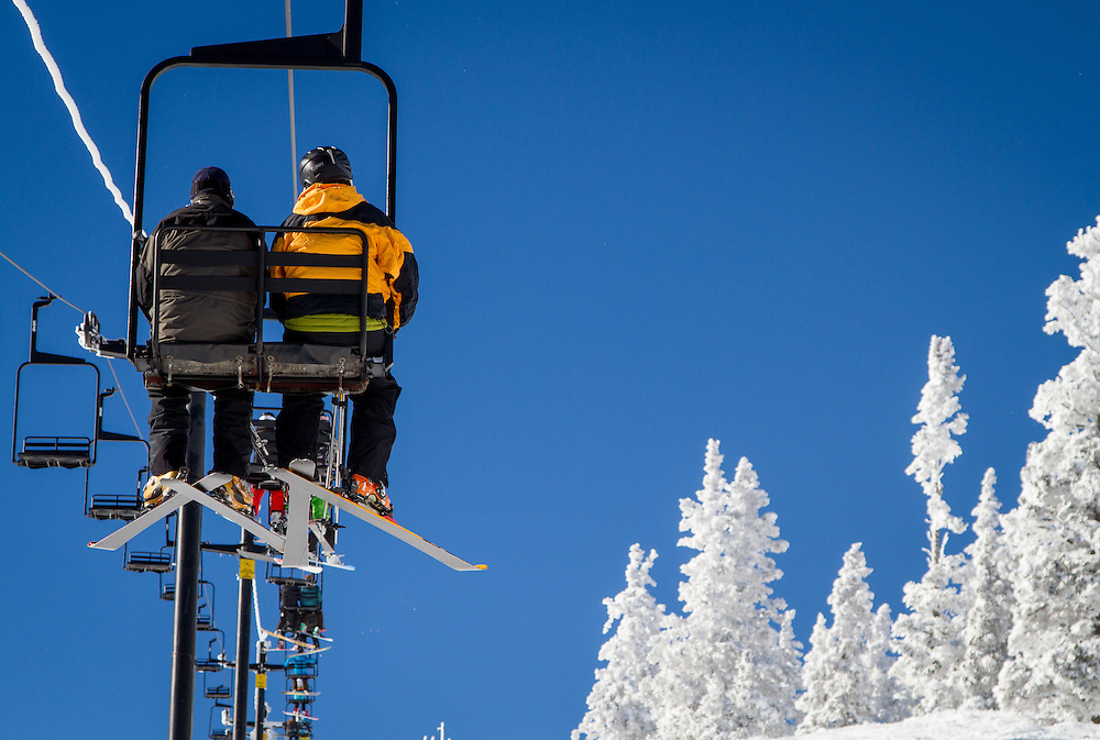 Skiers ride to top at Monarch Mountain.