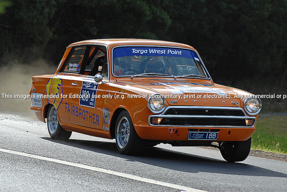 188 Peter Killick & Roslyn Killick..1965 Ford Cortina.Day 1.Targa Wrest Point 2010.Southern Tasmania.30th of January 2010.(C) Sarah Biggin.Use information: This image is intended for Editorial use only (e.g. news or commentary, print or electronic). Any commercial or promotional use requires additional clearance.