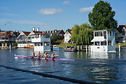Henley-On-Thames, Berkshire, UK., Wednesday, 11.08.21, Heat of the diamond Jubilee Challenge Cup, Glasgow Academy, approaching the finishing line,   2021 Henley Royal Regatta, Henley Reach, River Thames, Thames Valley,  [Mandatory Credit © Peter Spurrier/Intersport Images],
