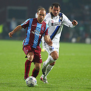 Trabzonspor's Serkan BALCI (L) and Inter's Dejan STANKOVIC (R) during their UEFA Champions League group stage matchday 5 soccer match Trabzonspor between Inter at the Avni Aker Stadium at Trabzon Turkey on Tuesday, 22 November 2011. Photo by TURKPIX