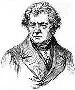 George Simon Ohm (1787-1854), German physicist, [c1906].  The Standard International unit of electrical resistance (the ohm) is named for him.  From 'A travers l'Electricite' ('About Electricity'), Georges Dary, (Paris, c1906).  Engraving.