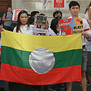 2021-09-11 Parliament Square, London, UK. Hundreds of Burmese demonstrators for revolution in Myanmar. Protesting to calling the West reject military government to support NUG in Myanmar. How are they standing up for the revolution in Myanmar. They are in UK? They are the first ones to flee Myanmar?