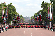 Trooping the Colour is a ceremony performed by regiments of the British and Commonwealth armies and as also marked the official birthday of the British sovereign, Queen Elizabeth.It is held in London annually on a Saturday in June on Horse Guards Parade by St. James's Park<br /> <br /> On the photo:  Parade