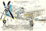 "Sketch of a World War II fighter plane from Paul Allen's Flying Heritage Collection. This is a P-47D Thunderbolt, sketched as mechanics were doing flight checks. The plane is painted like the six ""Tallahassee Lassie"" Thunderbolts flown during the war. <br />