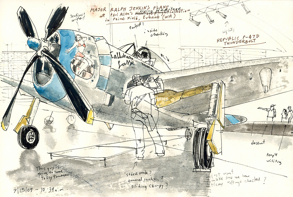 """Sketch of a World War II fighter plane from Paul Allen's Flying Heritage Collection. This is a P-47D Thunderbolt, sketched as mechanics were doing flight checks. The plane is painted like the six """"Tallahassee Lassie"""" Thunderbolts flown during the war. <br /> <br /> Gabriel Campanario / The Seattle Times"""