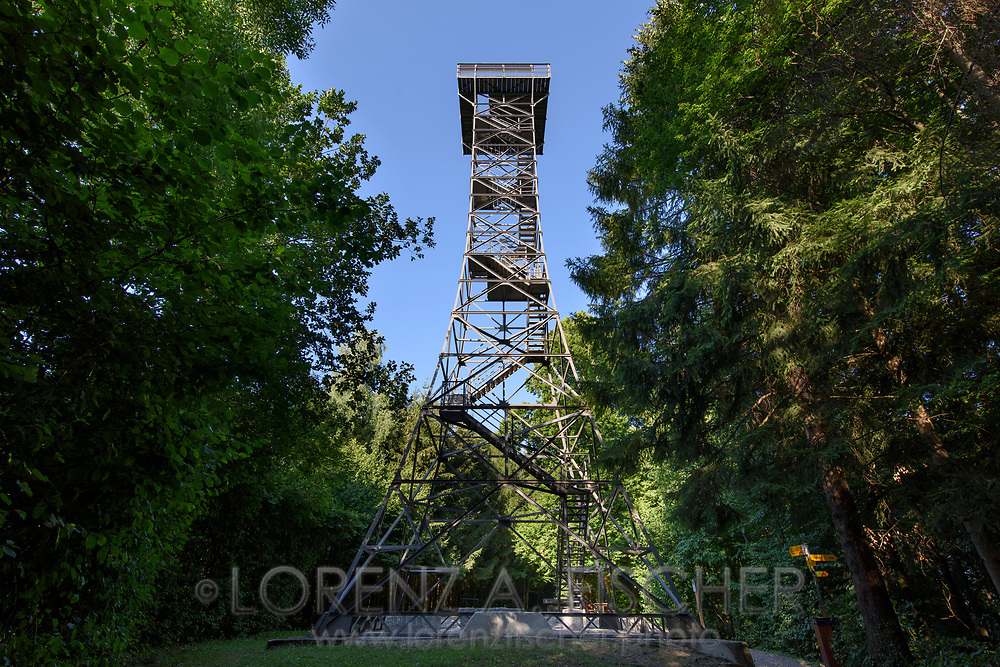 The Stäälibuck Tower, a historic steel construction, against the blue sky on a nice and sunny summer evening in July, Thurgau, Switzerland