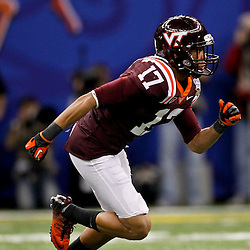 January 3, 2012; New Orleans, LA, USA; Virginia Tech Hokies cornerback Kyle Fuller (17) against the Michigan Wolverines during the Sugar Bowl at the Mercedes-Benz Superdome. Michigan defeated Virginia 23-20 in overtime. Mandatory Credit: Derick E. Hingle-US PRESSWIRE