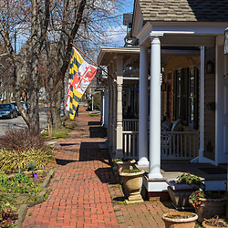 Chestertown, MD, USA - March 30, 2013: A residential street in historic Chestertown,  a town in Kent County, Maryland. It is the county seat.