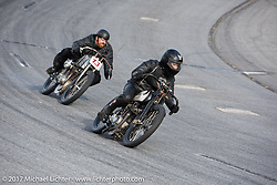 Matt Walksler racing his 1924 Harley-Davidson Model J 61 inch racer just ahead of Ebay Jake in Billy Lane's Sons of Speed vintage motorcycle racing during Biketoberfest. Daytona Beach, FL, USA. Saturday October 21, 2017. Photography ©2017 Michael Lichter.