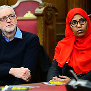 Speaker Jeremy Corbyn MP, Rakhia Ismail  at the  Stand Up To Racism  hosts Challenging the hostile environment and racism will democracy breaking its own law with Jeremy Corbyn labelling Brexit European  stealing job, Migrant rapist, Muslim terrorists, Muslim Grooming, African/Black is a criminal or rapist, Chinese the #coronavirus and let the refugees drown at Islington Town Hall on 6 March 2020, London, UK.