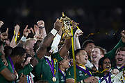 Siya Kolisi (captain) of South Africa celebrates with his team and raises the cup after the Rugby World Cup  final match between England and South Africa at the International Stadium ,  Saturday, Nov. 2, 2019, in Yokohama, Japan. South Africa defeated England 32-12. (Florencia Tan Jun/ESPA-Image of Sport)