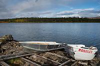 Row boats for hikers to cross lake Hornavan north of Jäkkvik on Kungsleden Trail, Lapland, Sweden