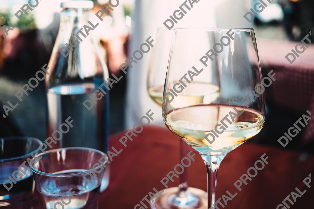 Wine tasting at Orvitelo main square.